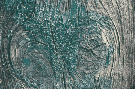 The texture is an old green paint on wood. The paint has disappeared, the wood is visible