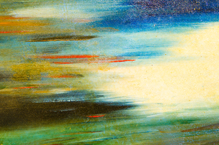 Horizontal smears of watercolor paint on a solid canvas, blue, yellow. green, pale and bright Stock Photo