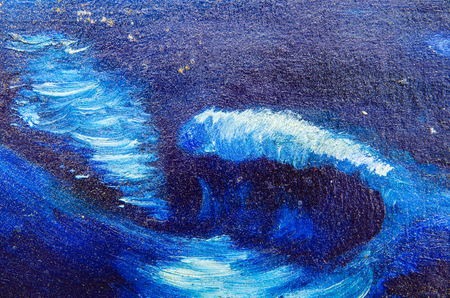 Great waves, painted on canvas with dark blue paint