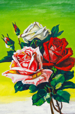 On the green background there are three roses depicted: red, pink, and white. You can see the whole flower with a stem. Stock Photo