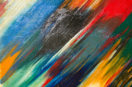 Beautiful and neat watercolor smears on canvas. Red, yellow, black, blue Stock Photo