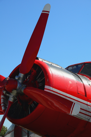 Nose of a red plane close up Stock Photo