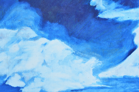 Large white watercolor smears on a blue background on canvas. Texture, background, wallpaper