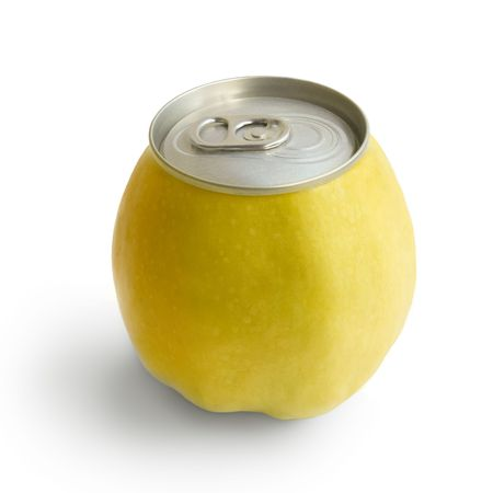 Yellow apple with metallic can isolated on white background photo