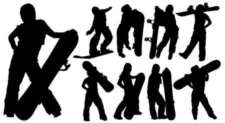 Silhouettes of woman with a snowboard Vector