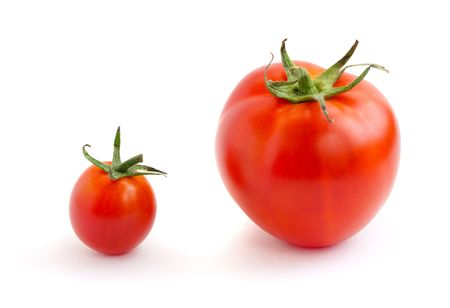 Two red tomatoes, small and big photo