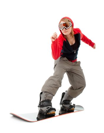 Woman with a snowboard isolated on white photo