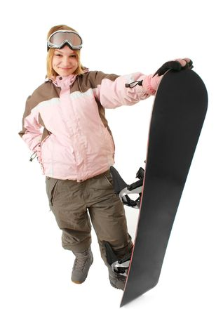 Woman with a snowboard isolated on white background photo