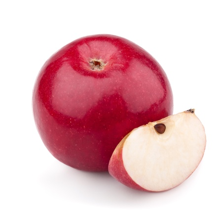 half an apple: One red apple and slice isolated on a white background Stock Photo
