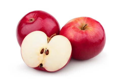 two and a half: Two ripe red apples and half of apple. Isolated on a white background
