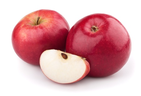 Two red apple and apple slice isolated on a white background Stock Photo - 8537674