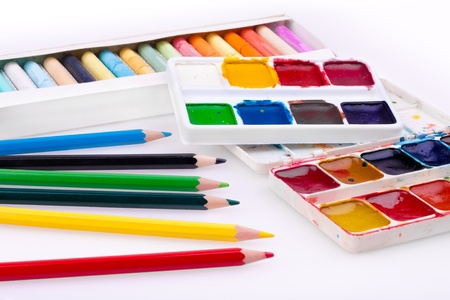 close-up of school supplies. Watercolor, pencil and pastel colors Stock Photo - 8560259