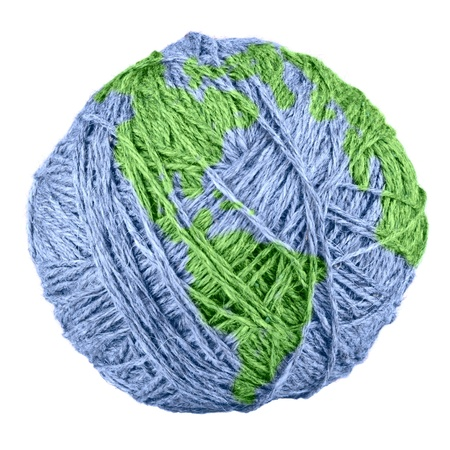 cotton ball: close-up of yarn Earth isolated on white background