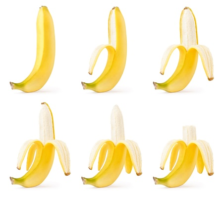 Peeling of bananas set isolated on white background Stock Photo