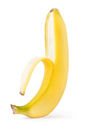 comiendo platano: Banana medio pelado aislado en un fondo blanco