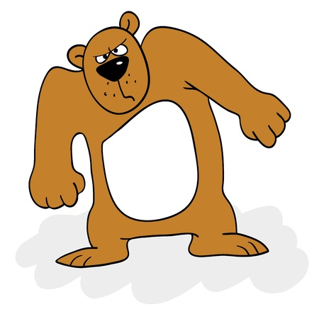 A cartoon bear with an angry expression. Vector