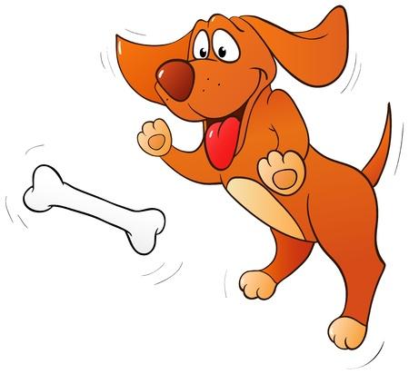 perro caricatura: Divertido perro saltando de hueso aislado en blanco