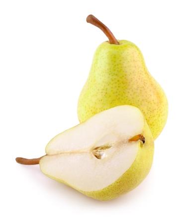 梨: 白で隔離される緑の黄色梨