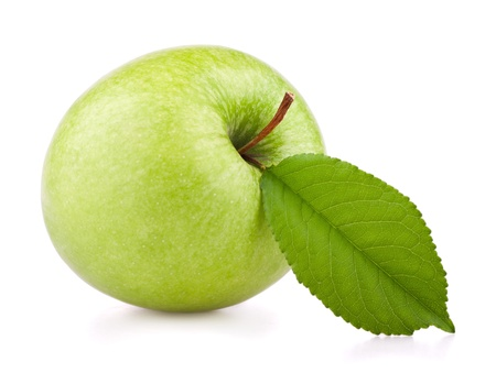 Green apple with leaf isolated on white Stock Photo