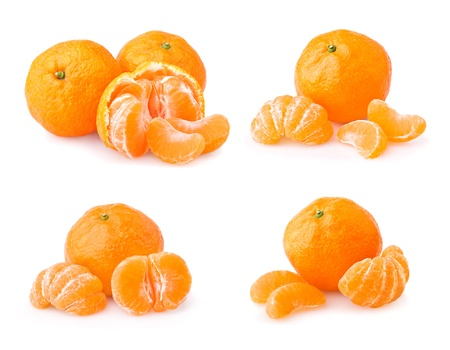 Set of ripe tangerine with slices isolated on white background photo