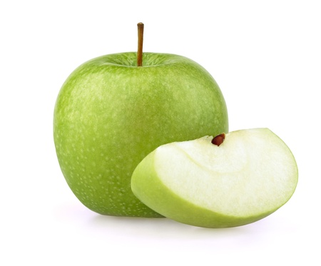 green apple: Green apple with half