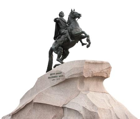 """charro: Monumento de el emperador ruso Pedro el Grande, conocido como """"El Jinete de Bronce"""", de San Petersburgo, Rusia. Aislado en blanco."""
