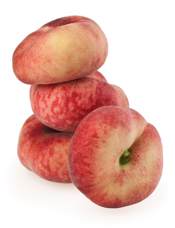 Chinese flat peaches isolated on a white background photo