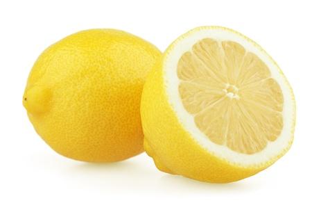 lemon slices: Limone fresco con mezzo isolato su sfondo bianco