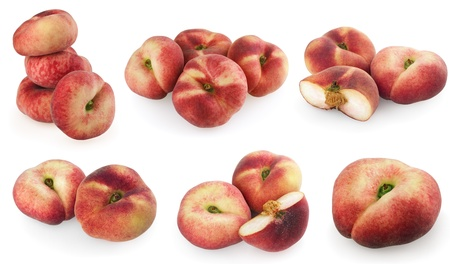 Set of chinese flat peaches isolated on a white photo