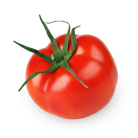 Single tomato vegetable isolated on white background