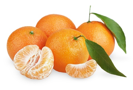 Ripe tangerines with leaves and slices isolated on white background photo