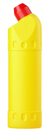 Yellow plastic bottle of detergent isolated on white background photo