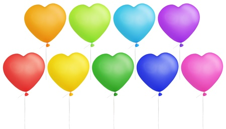 Set of colorful heart shape balloons isolated on white photo
