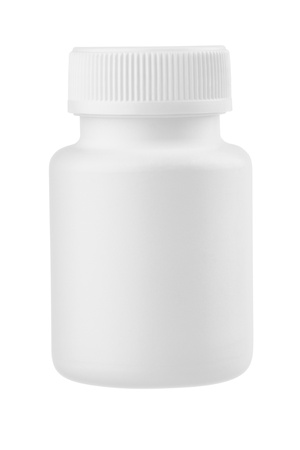 and vitamin: White plastic medical container for pills isolated on white