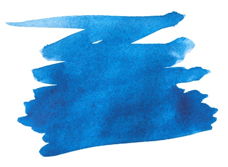 splodge: Blue watercolor paint stroke on white background Stock Photo