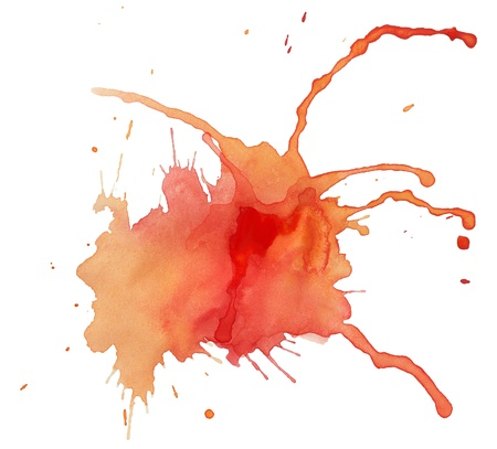 Blot of red-yellow watercolor isolated on white paper photo