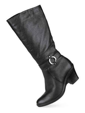 Black female fashionable leather boot isolated on white background photo