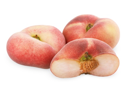 donut shape: Chinese flat peaches with half isolated on a white