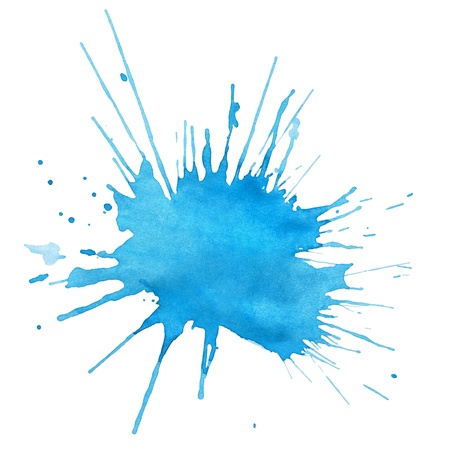 watercolor splash: Blot of blue watercolor isolated on white