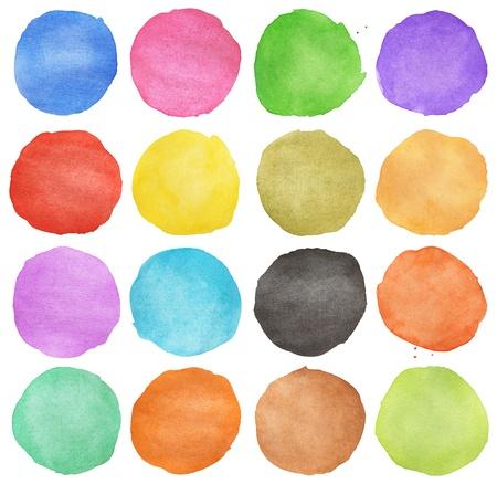흰색에 고립 된 추상 다채로운 수채화 손으로 그린 원