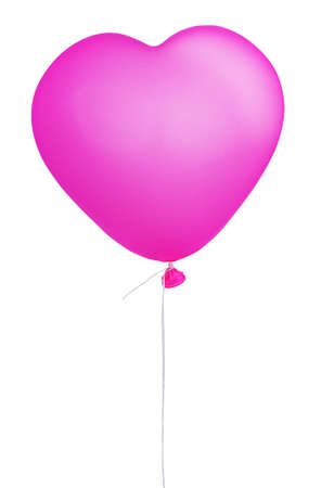 Pink heart shape balloon isolated on white background photo