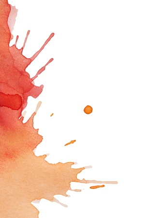blood splatter: Blot of red-yellow watercolor isolated on white paper
