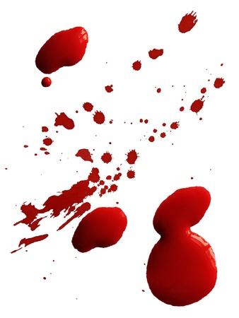 blood splatter: Drop of red blood isolated on white background Stock Photo