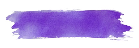 Violet stroke of watercolor paint brush isolated on white photo