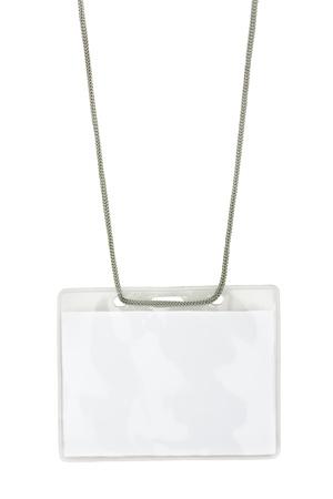 Blank name badge on lanyard isolated on white background photo