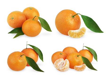 Set of ripe tangerines with leaves and slices isolated on white background photo