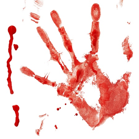 creepy hand: Bloody handprint with drop isolated on a white background Stock Photo