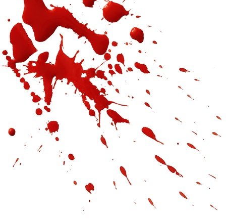 spatter: Drop of red blood isolated on white background Stock Photo
