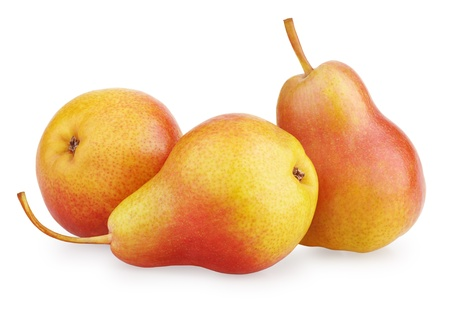 Three red-yellow pear fruits isolated on white background photo