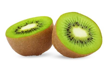 kiwi fruta: Kiwi maduro aisladas sobre fondo blanco